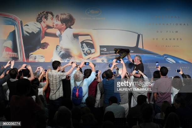 BritishUS director Terry Gilliam arrives to attend on May 19 2018 a press conference for the film 'The Man Who Killed Don Quixote' at the 71st...