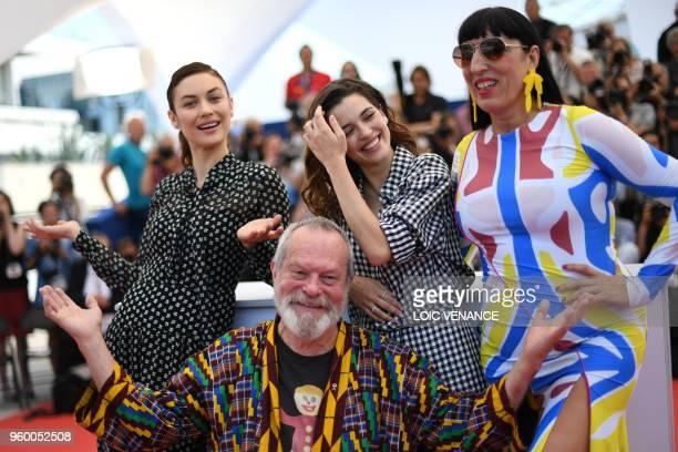 BritishUS director Terry Gilliam poses on May 19 2018 with FrenchUkrainian actress Olga Kurylenko Portuguese actress Joana Ribeiro and Spanish...