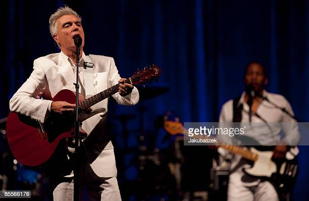 British/US singer David Byrne performs live during a concert at the Tempodrom on March 23 2009 in Berlin Germany The concert is part of the 2009 tour...