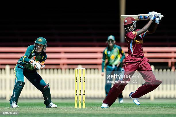 Britney Cooper of West Indies bats during the women's International Twenty20 match between Australia and the West Indies at North Sydney Oval on...
