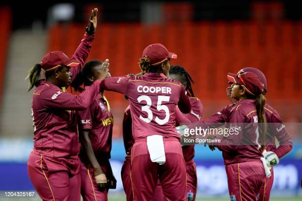 Britney Cooper of West Indies celebrates the wicket of Fran Wilson of England during the ICC T20 Women's World Cup cricket match between England and...