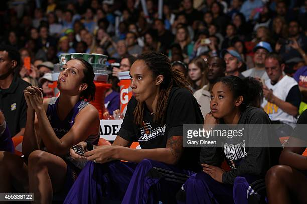 Britney Griner of the Phoenix Mercury sits on the bench in Game Three of the 2014 WNBA Finals on September 12 2014 at the UIC Pavilion in Chicago...
