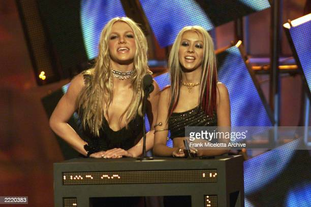 Britney Spears and Christina Aguilera at the 2000 MTV Video Music Awards at Radio City Music Hall in new York City, 9/7/00.