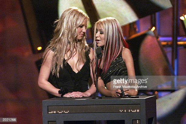 Britney Spears and Christina Aguilera at the 2000 MTV Video Music Awards at Radio City Music Hall in new York City, 9/7/00.Frank Micelotta/Getty...