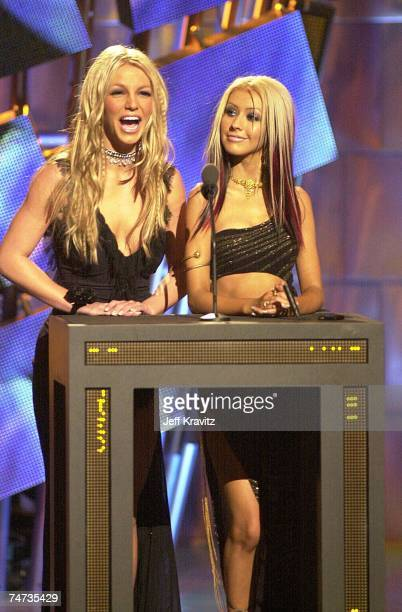 Britney Spears and Christina Aguilera at the MTV VMA 2000 Stage at Radio City Music Hall in New York City New York