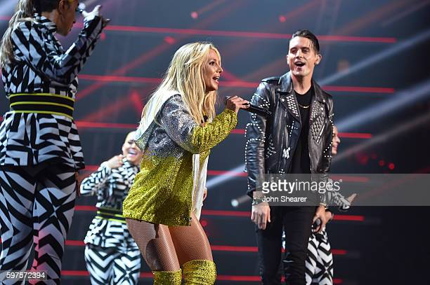 Britney Spears and GEazy perform onstage during the 2016 MTV Music Video Awards at Madison Square Gareden on August 28 2016 in New York City