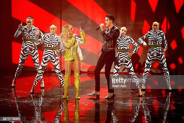 Britney Spears and GEazy perform onstage during the 2016 MTV Music Video Awards at Madison Square Garden on August 28 2016 in New York City