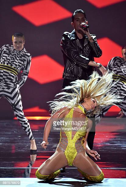 Britney Spears and GEazy performs onstage during the 2016 MTV Video Music Awards at Madison Square Garden on August 28 2016 in New York City