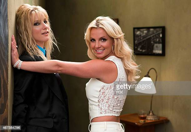Britney Spears and Heather Morris on the set of GLEE for the 'Britney Britney' episode of GLEE airing Tuesday Sept 28 on FOX