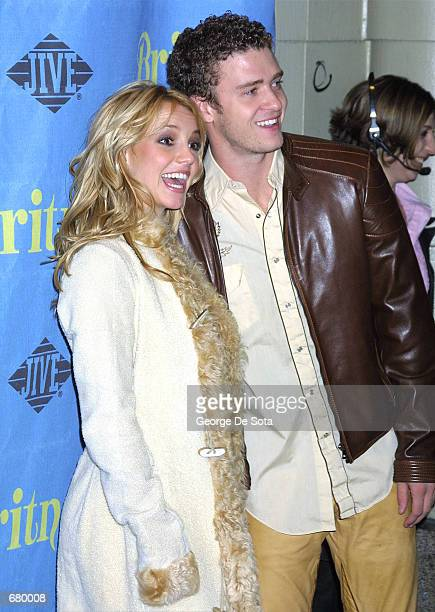 Britney Spears and her boyfriend Justin Timberlake attend the Britney Spears and Jive Records Release Party for Britney's new album 'Britney'...