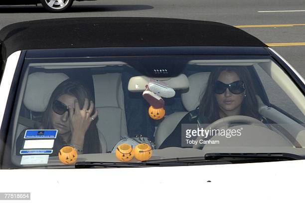 Britney Spears and her cousin Alli Sims arrive in a car for a hearing regarding her ongoing child custody case at the Stanley Mosk Courthouse October...