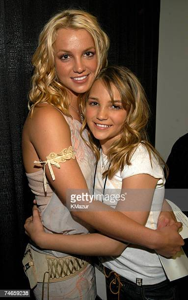 Britney Spears and JamieLynn Spears at the Barker Hangar in Santa Monica California