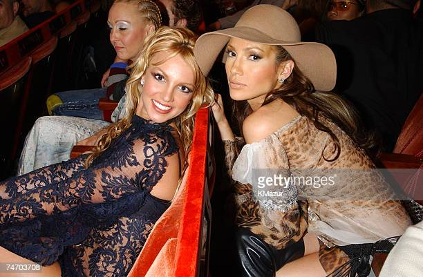 Britney Spears and Jennifer Lopez during 2001 MTV Video Music Awards Audience and Backstage at the The Metropolitan Opera House at Lincoln Center in...