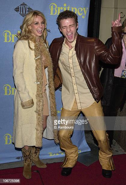 Britney Spears and Justin Timberlake during Britney Spears Album Release Party for 'Britney' at CentroFly November 6 2001 at CentroFly in New York...