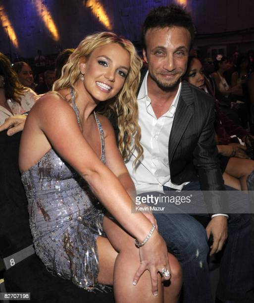 Britney Spears and Larry Rudolph in the audience at the 2008 MTV Video Music Awards at Paramount Pictures Studios on September 7 2008 in Los Angeles...