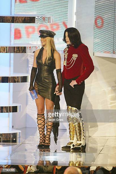Britney Spears and Michael Jackson on stage at the 2002 MTV Video Music Awards at Radio City Music Hall in New York City August 29 2002 Photo by...