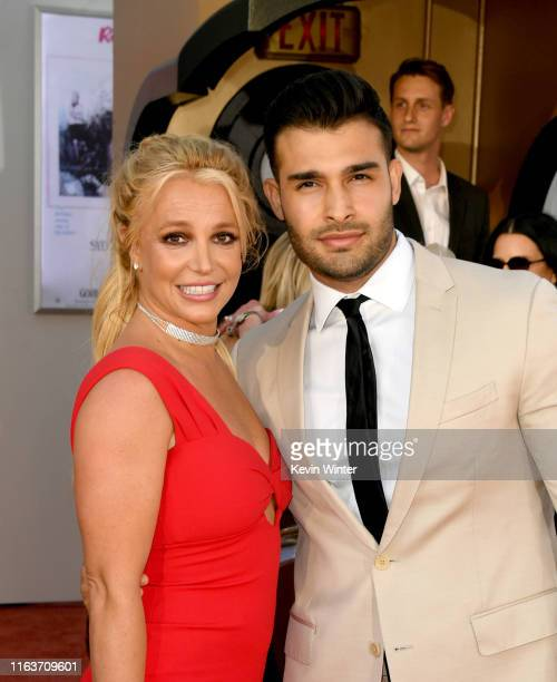 "Britney Spears and Sam Asghari arrive at the premiere of Sony Pictures' ""One Upon A Time...In Hollywood"" at the Chinese Theatre on July 22, 2019 in..."