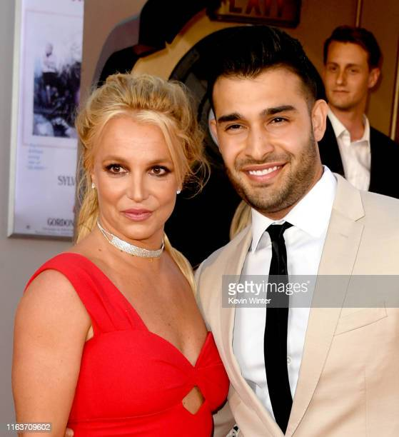 Britney Spears and Sam Asghari arrive at the premiere of Sony Pictures' One Upon A TimeIn Hollywood at the Chinese Theatre on July 22 2019 in...