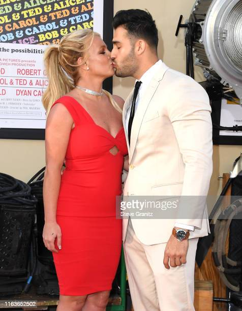 "Britney Spears and Sam Asghari arrives at the Sony Pictures' ""Once Upon A Time...In Hollywood"" Los Angeles Premiere on July 22, 2019 in Hollywood,..."