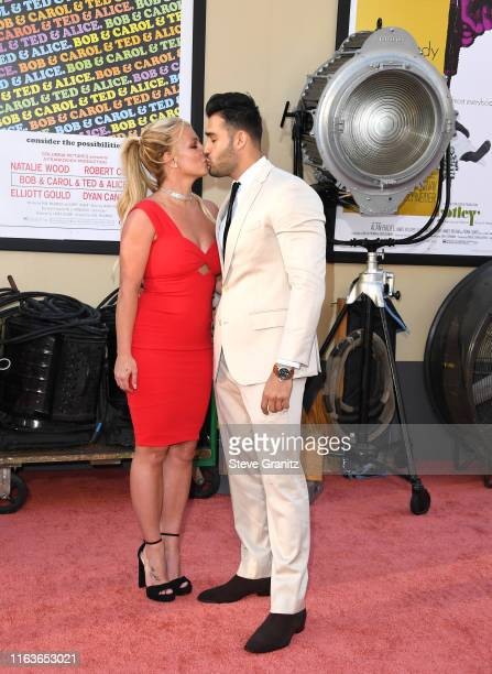Britney Spears and Sam Asghari arrives at the Sony Pictures' Once Upon A TimeIn Hollywood Los Angeles Premiere on July 22 2019 in Hollywood California