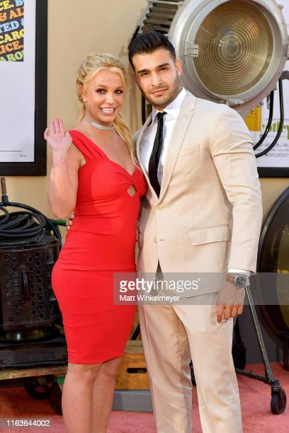 Britney Spears and Sam Asghari attend Sony Pictures' Once Upon A TimeIn Hollywood Los Angeles Premiere on July 22 2019 in Hollywood California