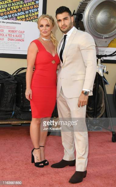"Britney Spears and Sam Asghari attend Sony Pictures' ""Once Upon A Time...In Hollywood"" Los Angeles Premiere on July 22, 2019 in Hollywood, California."