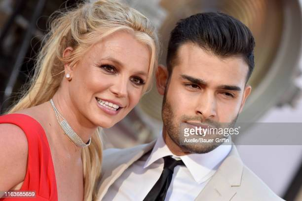 Britney Spears and Sam Asghari attend Sony Pictures' Once Upon a Time in Hollywood Los Angeles Premiere on July 22 2019 in Hollywood California