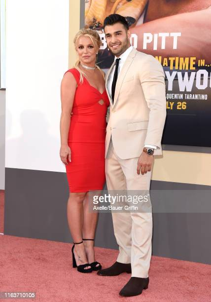 "Britney Spears and Sam Asghari attend Sony Pictures' ""Once Upon a Time ... In Hollywood"" Los Angeles Premiere on July 22, 2019 in Hollywood,..."