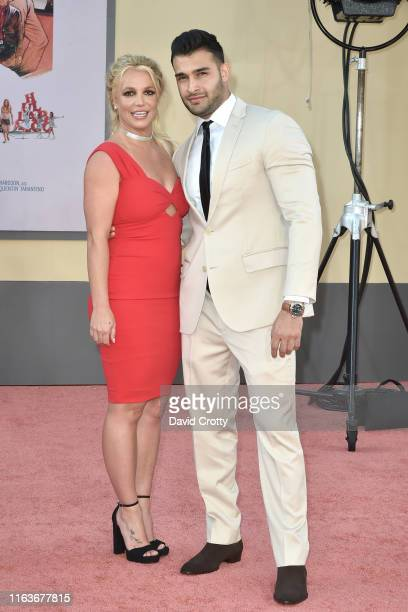 Britney Spears and Sam Asghari attend the Los Angeles premiere of Once Upon A Time In Hollywood at TCL Chinese Theatre on July 22 2019 in Hollywood...