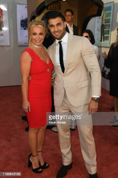 "Britney Spears and Sam Asghari attend the Sony Pictures' ""Once Upon A Time...In Hollywood"" Los Angeles Premiere on July 22, 2019 in Hollywood,..."