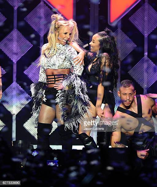 Britney Spears and Tinashe perform at 1027 KIIS FM's Jingle Ball 2016 at Staples Center on December 2 2016 in Los Angeles California