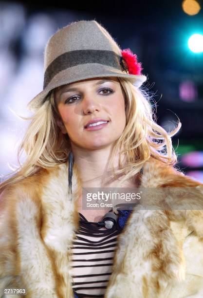 Britney Spears appears on stage during Spankin' New Music Week on MTV's Total Request Live outside at the MTV Times Square Studios November 10 2003...