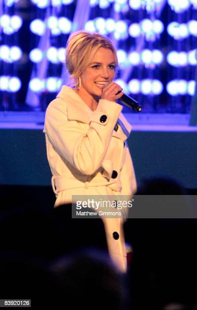 Britney Spears appears onstage at the 'Light of the Angels' christmas tree lighting ceremony at the Nokia Theatre on December 4 2008 in Los Angeles...
