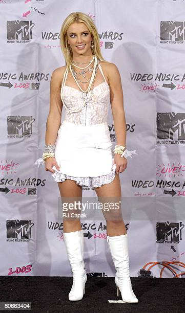 Britney Spears backstage during the MTV Video Music Awards in New York August 28 2003