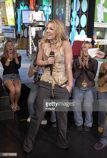 """Britney Spears during Britney Spears, Sean """"P. Diddy"""" Combs and Travis Fimmel Visit MTV's """"TRL"""" Treadmill-A-Thon - October 22, 2003 at MTV Studios,..."""