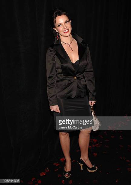 Britney Spears during MercedesBenz Fashion Week Fall 2007 Baby Phat Backstage and Front Row at Roseland Ballroom in New York City New York United...