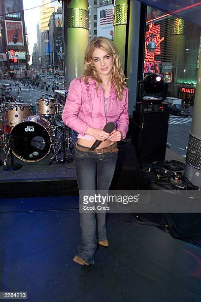 Britney Spears during MTV's Spankin' New Music Week on TRL at the MTV studios in New York City Her new album Britney was released today 11/6/01 Photo...