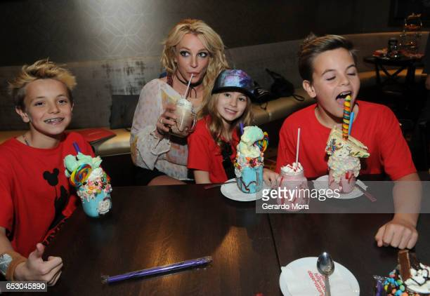 Britney Spears enjoys a family outing with Jayden Federline Maddie Aldridge and Sean Federline at Planet Hollywood Disney Springs on March 13 2017 in...