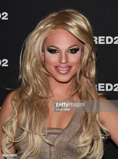 Britney Spears impersonator Derrick Barry attends the grand opening party for Dsquared2 at The Shops at Crystals on April 6 2017 in Las Vegas Nevada