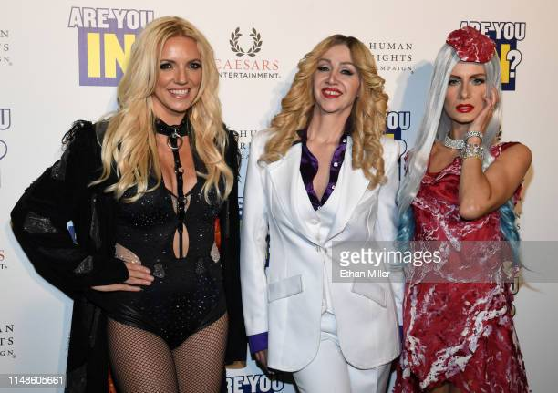 Britney Spears impersonator Katie Murdock Madonna impersonator Coty Alexander and Lady Gaga impersonator Christina Shaw from the tribute show Blond...