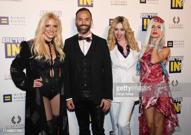 Britney Spears impersonator Katie Murdock producer Cody Clark Madonna impersonator Coty Alexander and Lady Gaga impersonator Christina Shaw from the...