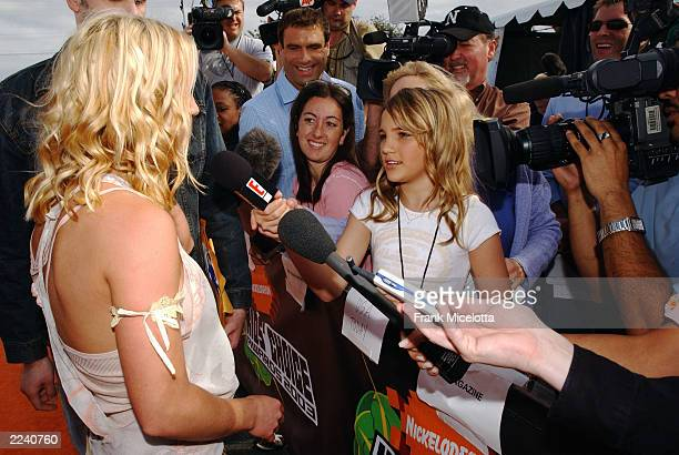 Britney Spears is interviewed by her little sister Jamie Lynn at the Nickelodeon's 16th Annual Kids' Choice Awards at the Barker Hangar April 12 2003...
