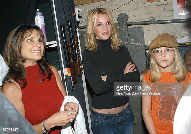 Britney Spears is joined by her mother Lynne and her sister Jamie Lynn on a backstage visit to meet the cast after attending a performance of...