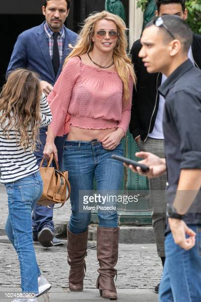 Britney Spears is seen in Paris ahead of her two Piece of Me tour dates on August 27 2018 in Paris France
