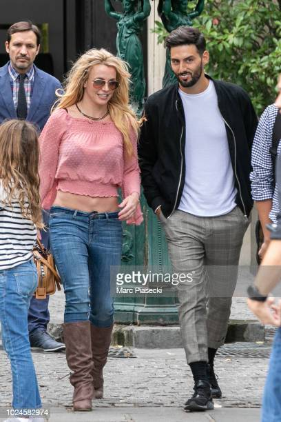 "Britney Spears is seen in Paris ahead of her two ""Piece of Me"" tour dates on August 27, 2018 in Paris, France."