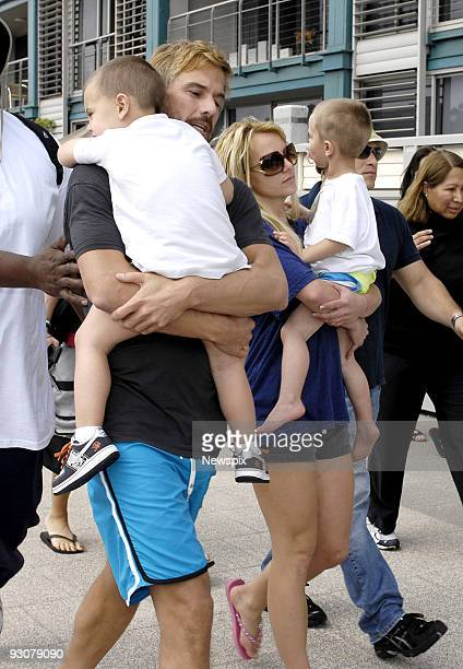 Britney Spears is seen with her manager and current boyfriend Jason Trawick and her children Sean Preston and Jayden James as they board MV Oscar in...