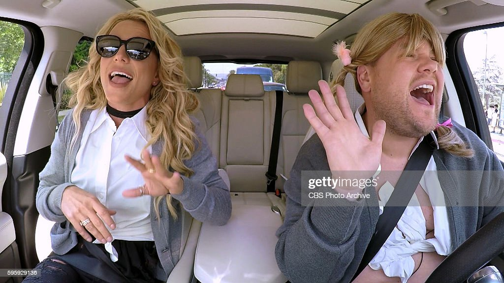 Britney Spears joins James Corden for Carpool Karaoke on 'The Late Late Show with James Corden,' Airing Thursday, August 25th 2016, on The CBS Television Network. Image is a screen shot.