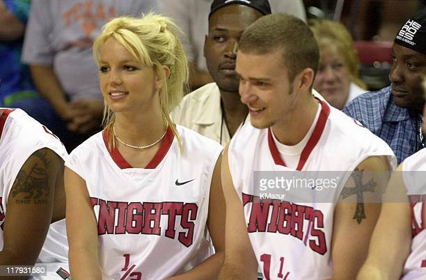 Britney Spears Justin Timberlake during Top stars join *NSYNC for the 3rd annual Challenge for the Children basketball charity event featuring...