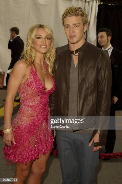 Britney Spears Justin Timberlake pose for photographers at The 29th Annual American Music Awards at the Shrine Auditorium in Los Angeles