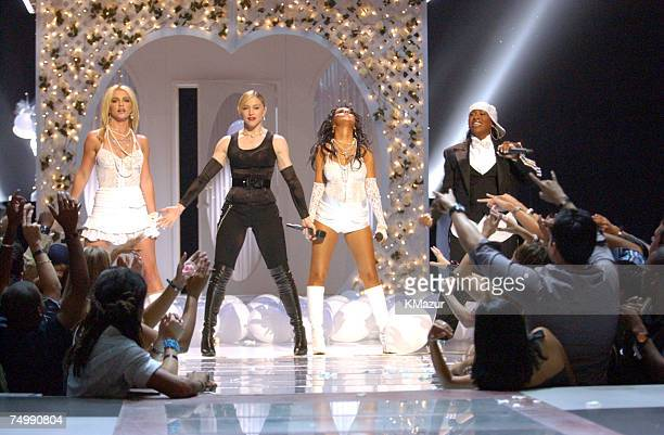 Britney Spears Madonna Christina Aguilera and Missy Elliott perform opening act at the 2003 MTV Video Music Awards